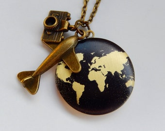 Locket, World Traveler, Vacation Necklace, Around the World, Air Travel, Gift for Her