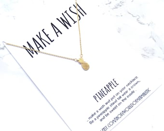 Pineapple wish necklace, minimalist dainty necklace, simple everyday necklace, summer jewelry, gift for her, delicate fine jewelry