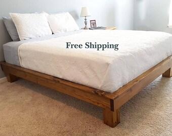 Platform Bed, Chunky Leg Platform Bed, Dani Platform Bed, Solid Wood Platform Bed