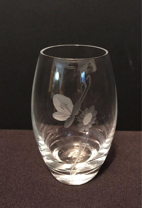 Sale Vintage Kasta Sweden Clear Glass Etched Vase