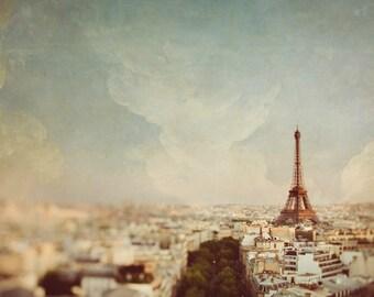 "Eiffel Tower Print, Paris Wall Art Print, French Home Decor, Pastel Wall Decor, Paris Skyline, Fine Art Photography, ""Sky Line"""