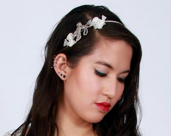 Silver Lace and Vintage Marcasite Bow Side Bridal Headband