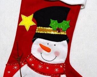 "Hand made 20"" red felt appliqué snowman Christmas Stocking"
