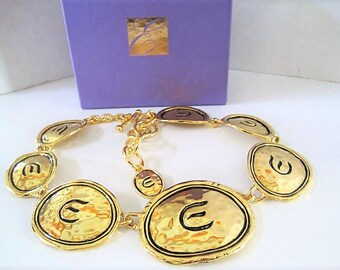Elizabeth Taylor Avon Necklace, Gold Coast Collection 1994, Signature E Links, Original Box and Packaging