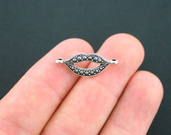 10 Lips Connector Charms Antique Silver Tone Smile - SC3797