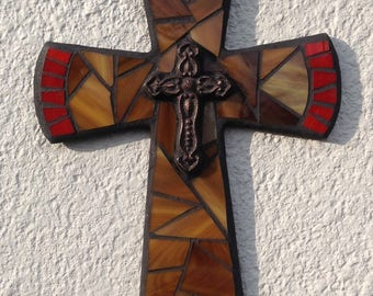 Mosaic Cross, Fathers Day Gift,Tuscan Wall Cross, Country Wall Cross, Original Wall Cross, Mosaic Art, Rustic Wall Cross, Unique Wall Cross