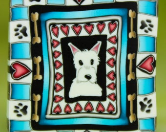 WESTIE Polymer Clay LARGE Framed Dog Cane -'Puppy Love' (42D)