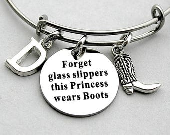Stainless Steel Charm, Forget Glass Slippers This Princess Wears Boots, County Girl Boot Bangle,Country Girl Jewelry, Under 20, Gift For Her