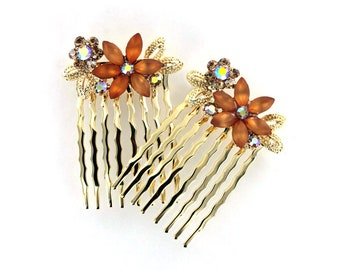Hand Made Hair Jewelry Pair combs swarovski crystal flower pattern, Light Brown(SO2098-am)