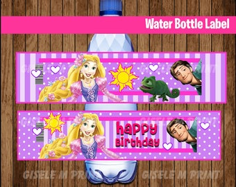 Tangled Water Bottle Label, Printable Rapunzel Water labels, Tangled party Water instant download