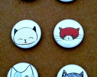 Cat Pinback Buttons or Magnets