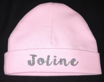 Baby beanie personalized with glitter writing