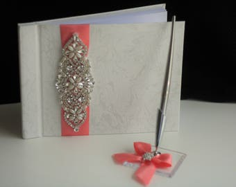 Coral Guest Book with Pen / Jewel Wedding Set / Coral Sign Book / Coral Wishes Book / Jewel Wishes book / Jewel Guest Book and Pen