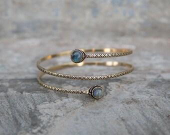 Arm Band Brass Stones / Bracelet de Bras en laiton et pierres Armband Boho Festival Summer Jewelry