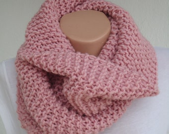 Pale pink knit scarf / knitted scarf/rose pink  scarf/ rose pink knit snood / scarf/ pale pink knit scarf /cowl/pale pink knitted scarf