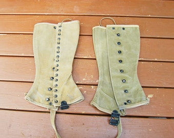Pair of Army Spats, WW2 Military Spats, Side Lace Spats, Green Canvas Gaiters,