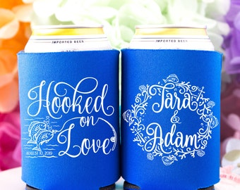Fishing Wedding Favors for Guests, Fishing Theme, Fisherman Wedding, We Got Hooked on Love, Personalized Can Coolers, Fishing Pole