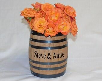 Whiskey / Wine Oak Barrel Centerpiece Flower Vase For Wedding Or Reception