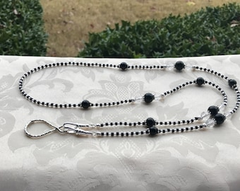 Black and Silver ID Badge Lanyard Lightweight Beaded Chain ID Badge Holder