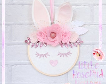 Bunny wall decor - bunny hoop - bunny wall hanging - bunny wall art - bunny nursery wall art - bunny nursery - bunny bedroom wall art