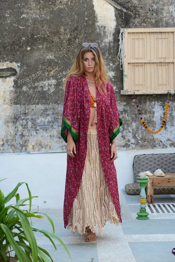 RUBY SPARROW KIMONO - Full length - Beach Cover Up - Cardigan - Summer - Pink - Kaftan - Peasant dress - Vintage - Gunne Sax Inspired - Folk