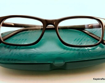 Zenni Eyeglasses and Blue Plastic Case Vintage Eyeglasses 1980 Zenni Glasses Retro Eyeglasses Plastic Frame Glasses