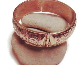 Vintage Floral Bangle Bracelet, Bangles, Gift for her, large bangles, Bracelets, Vintage Costume, Costume Jewelry, Costume bracelets, bangle
