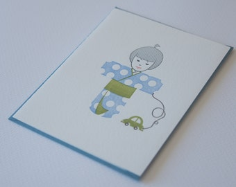 Letter Press Card - Baby Announcement: Baby Boy