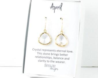 April Birthstone Gold Framed Dangle Earrings, Clear Gold Dangle Earrings, April Birthday Jewelry, Bridesmaid Jewelry, Gold Earrings #807