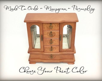 Custom Jewelry Armoire, Hand Painted Jewelry Box, Heart Shaped Hardware, Monogrammed Personalized Gift for Wife, Daughter, Girlfriend, OOAK