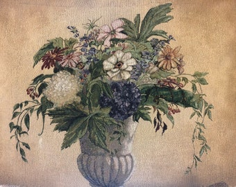 Large floral wall tapestry Centerpiece bouquet; Flowers in vase wall hanging with steel dowel
