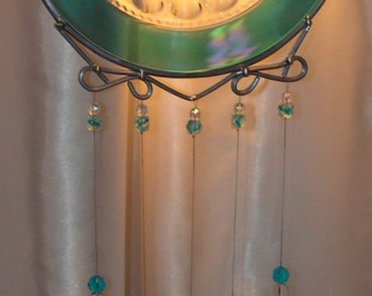 Kings Crown Plate upcycled into Windchime with Stained Glass