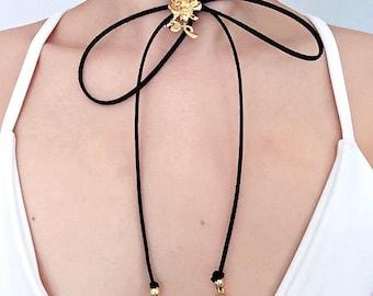 Rose wrap choker necklace