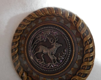 Large ANTIQUE Deer in Forest with Ribbon Border Metal BUTTON