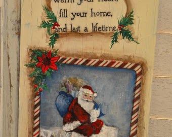 Hand Painted Christmas Santa Greetings Tin Vintage Look Advertising Sign
