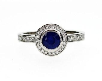 Blue sapphire halo engagement ring, diamond ring, white gold ring, bezel engagement, sapphire halo, blue, diamond ring, vintage style