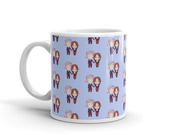 12 and Clara Triple Hearts Patterned Mug