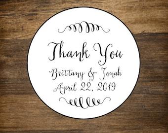 "Wedding thank you labels, personalized stickers, envelope seals, 2"" round stickers, set of 20, Matte white, Kraft brown, Chalkboard Black"
