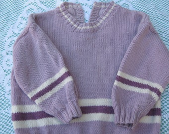 Hand Knitted Sweater - Gorgeous Pink / Purple Striped Jumper /  Sweater for Girl Aged around 2 years.