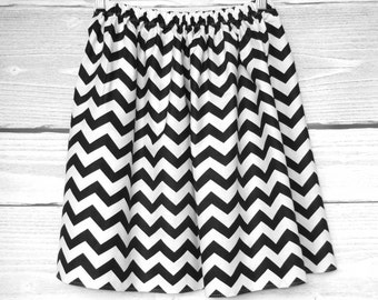 chevron skirt, white black chevron, skirt elastic waist, elegant cotton skirt