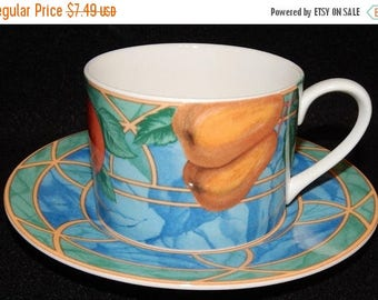 ON SALE Victoria & Beale FORBIDDEN Fruit 9024 Cup and Saucer Fruit in Center on White Background Circa 1995 Made in Indonesia Excellent Cond