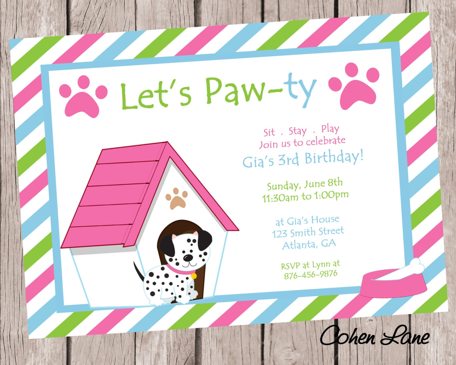 Puppy birthday party invitation dog party invite puppy zoom bookmarktalkfo Image collections