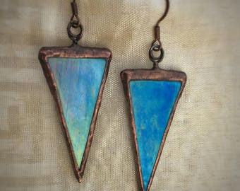 Stained Glass Earrings - Iridescent Traingle