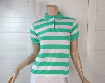 Striped Polo Shirt- Vintage 80s Vintage Mint Green & White Top- 1980s- Preppy New Wave Punk Aqua Sea Green Knit Top Extra Small Sweet Valley