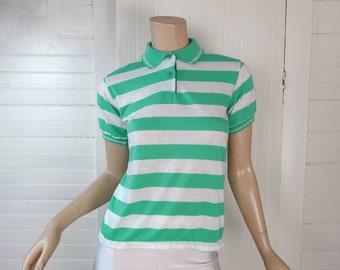 Polo Shirt rayé-Vintage des années 80 Vintage couleur menthe vert et blanc haut-1980 s-Preppy New Wave Punk mer vert Aqua tricot Top Extra petite vallée douce