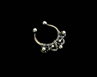 Silver Septum Ring - 16ga or Fake Nose Ring - Septum Piercing - 925 Silver - Plain Silver Collection