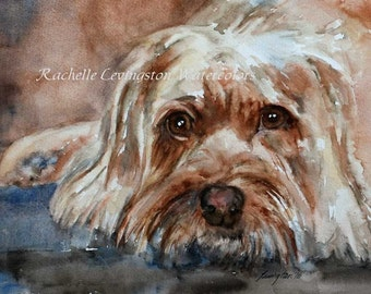 terrier painting of dog terrier painting terrier Terrier art PRINT Terrier PRINT dog puppy Dog print watercolor brown dog wall  pet russell