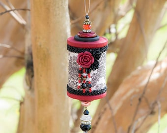 Blood and Roses Beaded Wooden Spool Ornament