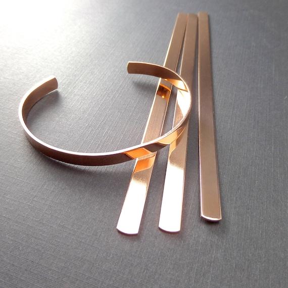 "75 Cuffs - 1/4"" x 7"" Copper or Jeweler's Brass 18 Gauge Tumble Polished or Raw Bracelet Blank Cuffs - 75 Cuffs - Flat - Made in USA"