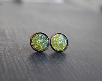 Gorgeous Olive Green Titanium Druzy Earrings, Big Druzy Studs, 12mm Studs, Druzy Set, Birthday gift